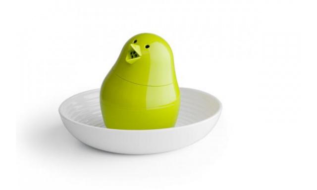 Slánka s miskou na vajíčko QUALY Jib-Jib Shaker, bílá-zelená