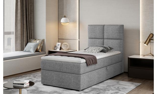 Moderní box spring postel Garda 90x200, šedá Savana