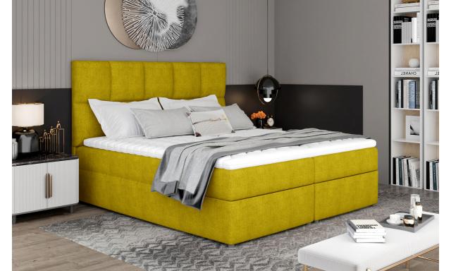 Box spring postel Grass 200x185cm, žlutá žinilka