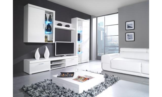 Moderní obývací stěna Speciale, bílá/bílý lesk