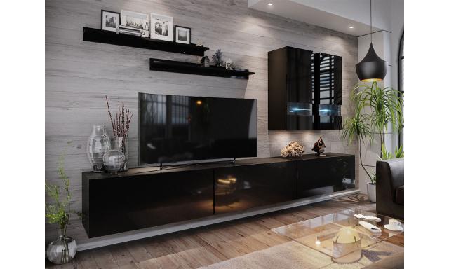 Moderní obývací stěna Bonny 01, černá/černý lesk
