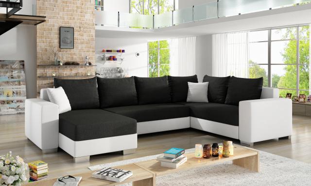 Moderní sedačka tvaru U Marate, bílá/černá