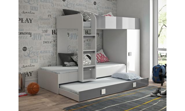 Dětská postel pro 3 děti Thiago, bílá/šedý lesk