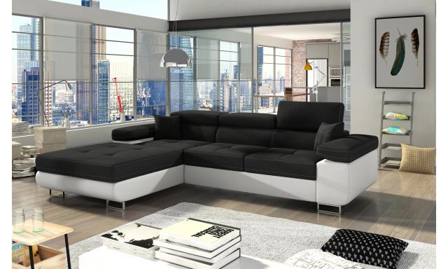 Moderní rohová sedačka Alcudia, bílá/černá