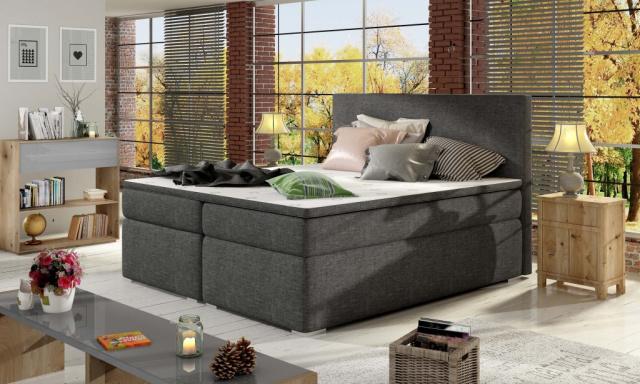 Moderní box spring postel Dive 180x200, šedá