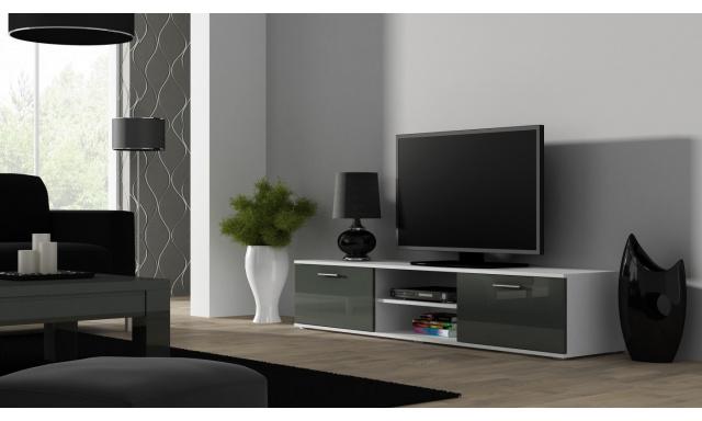 Moderní televizní stolek Zita 180, bílá/šedý lesk