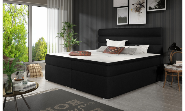 Elegantní box spring postel Sedina 180x200, černá
