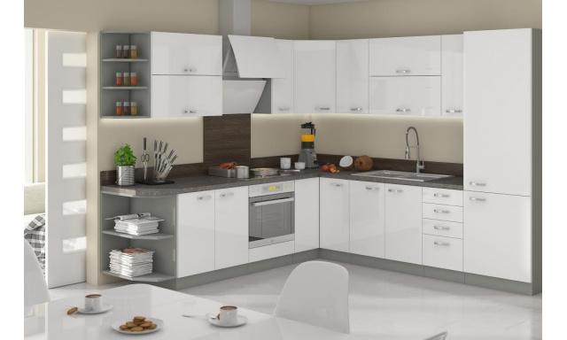 Luxusní rohová kuchyně Blanka, bílý lesk
