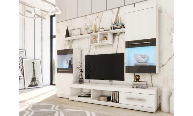 Moderní obývací stěna Nieve, bílá/černý lesk