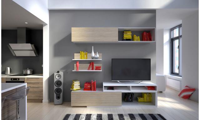 Moderní obývací stěna Trasco, bílá/sonoma