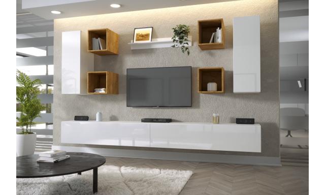 Moderní bytový nábytek Premio F, bílá/bílý lesk