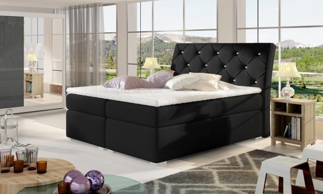 Moderní box spring postel Bralin 180x200, černá