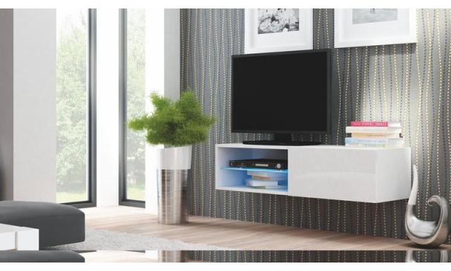 Moderní TV stolek Livorno 120, bílý lesk