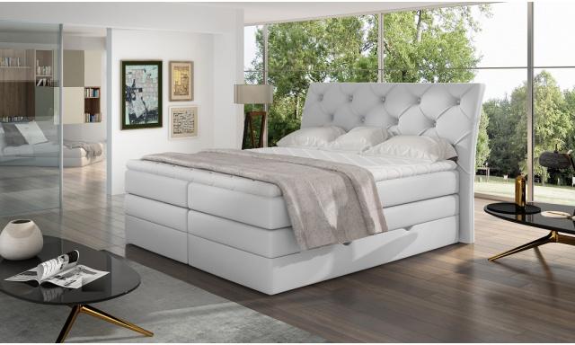 Kvalitní box spring postel Marek 180x200, bílá