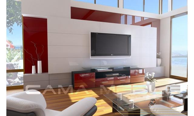 TV stolek Evora, černá/bordo lesk