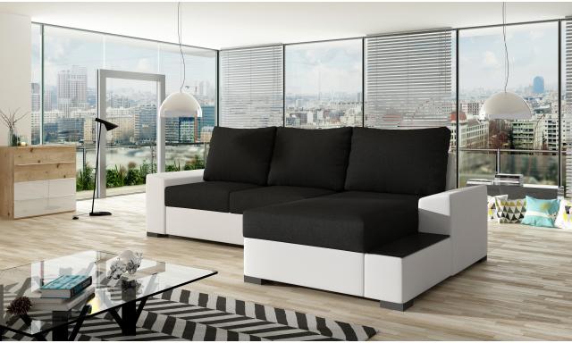 Moderní rohová sedačka Norco, bílá/černá