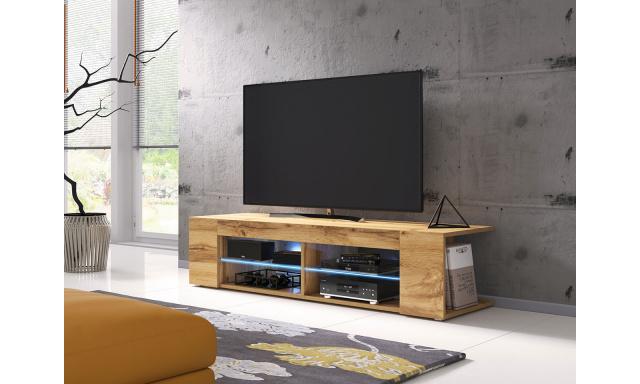Moderní TV stolek Spine 140, dub wotan + LED