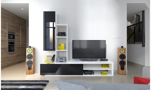 Moderní obývací stěna Naspe, bílá/černý lesk