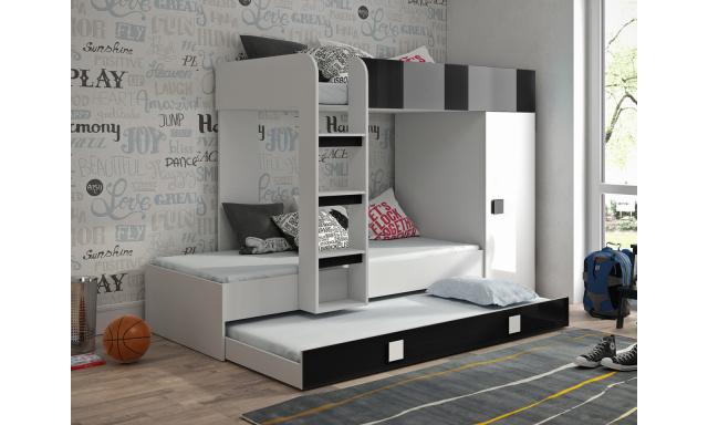 Dětská postel pro 3 děti Thiago, bílá/černý lesk