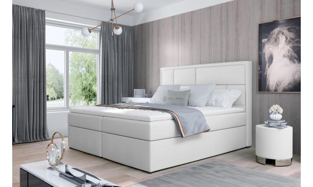 Kvalitní box spring postel Meredit 180x200, bílá