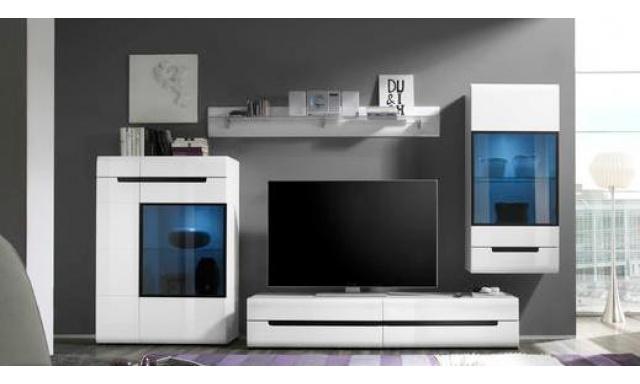 Luxusní obývací stěna Helios B, bílý lesk