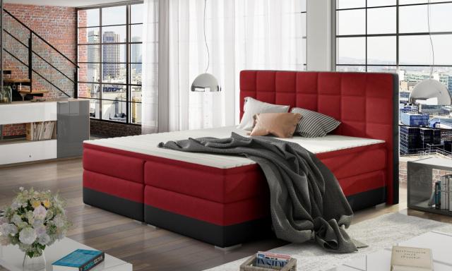 Moderní box spring postel Dolores 180x200, černá/červená
