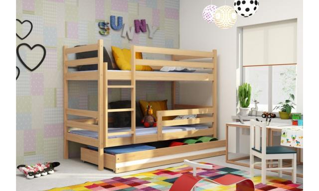 Patrová postel s úložným prostorem Euro, borovice, 160x80cm