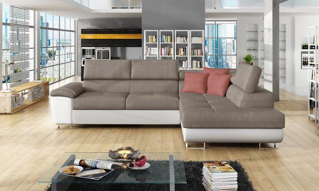 Luxusní sedací souprava Cinnamon, bílá/béžová