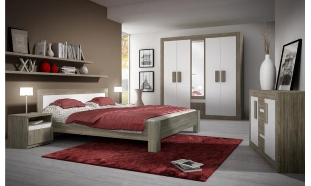 Moderní ložnicová sestava Mediolan dub sonoma trufla/bílá