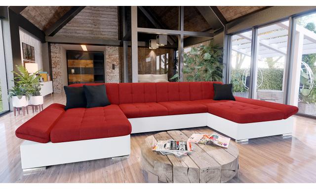 Luxusní sedací souprava Agapi, bílá/červená