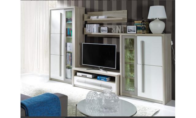 Moderní obývací stěna Romba A, jilm/bílý lesk