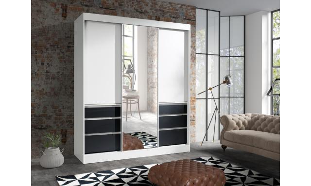 Šatní skřín Hermína 180cm se zrcadlem, šedá/černá
