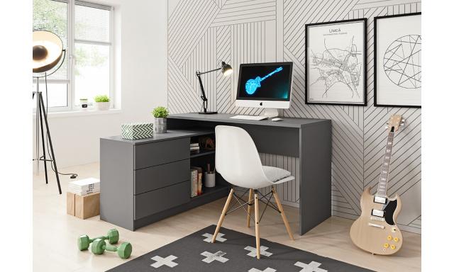 PC stůl s komodou Teide, šedý