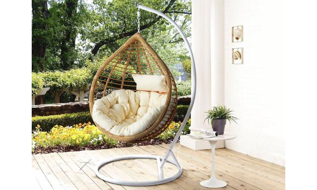 Zahradní závěsné křeslo Barma, bílá/přírodní + krémová látka