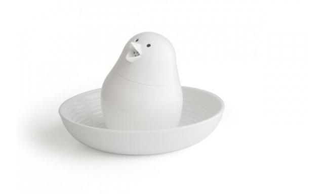 Slánka s miskou na vajíčko QUALY Jib-Jib Shaker, bílá-bílá
