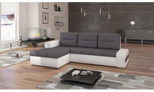 Moderní rohová sedačka Octavio, bílá/šedá