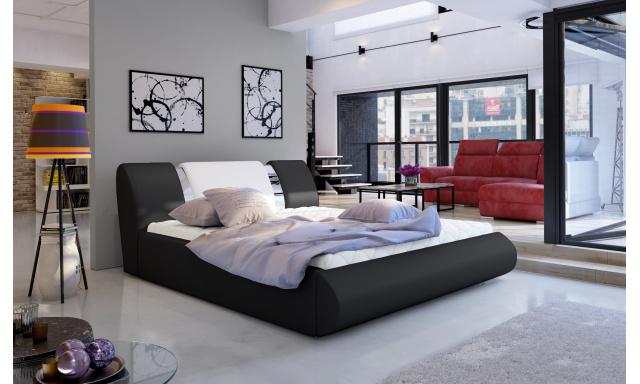 Moderní postel Flores 180x200cm, černá/bílá