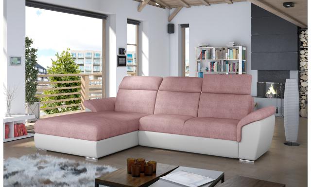 Moderní rohová sedačka Trango, bílá/růžová