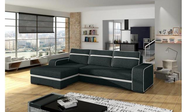 Moderní rohová sedačka Fonso, černá/bílá