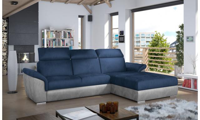 Moderní rohová sedačka Trango, šedá/modrá