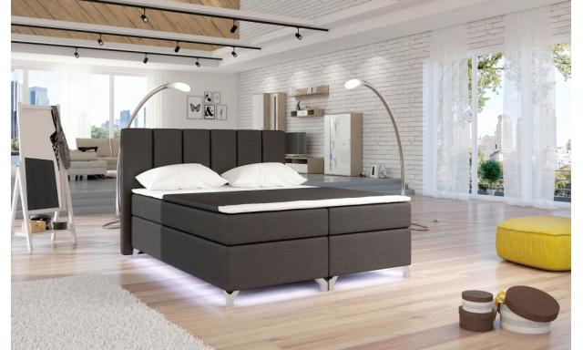 Moderní box spring postel Basel + LED 180x200