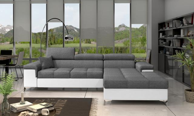 Moderní rohová sedačka Relina, bílá/šedá