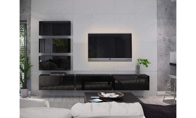 Moderní obývací stěna Bonny 04, černá/černý lesk