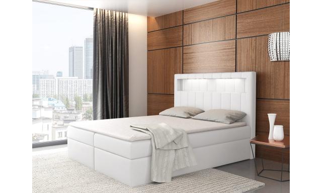 Kontinentální postel Areto 200x200, bílá + LED