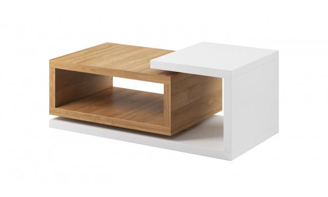 Konferenční stolek Bigla, dub Grandson/bílá