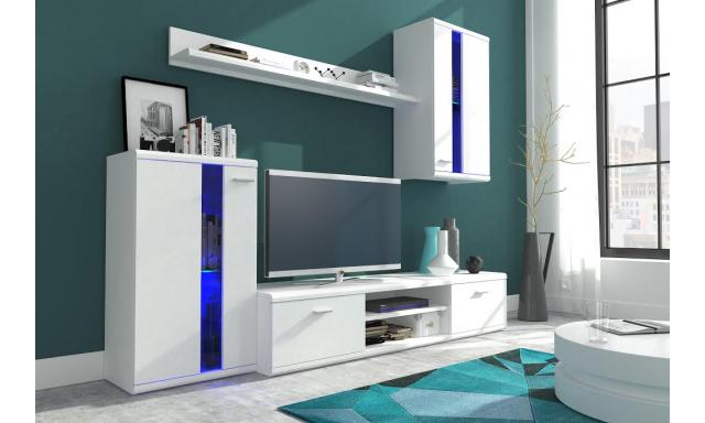 Moderní obývací stěna Lumen, bílá