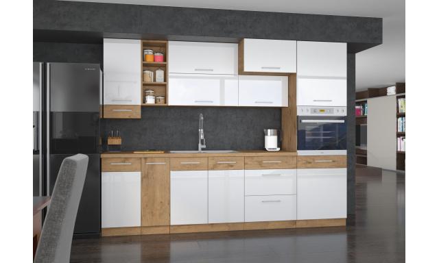 Luxusní kuchyně Verizon s volbou rozměrů, dub Lancelot / bílý lesk