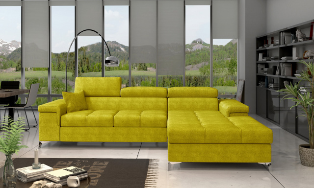 Moderní rohová sedačka Relina, žlutá