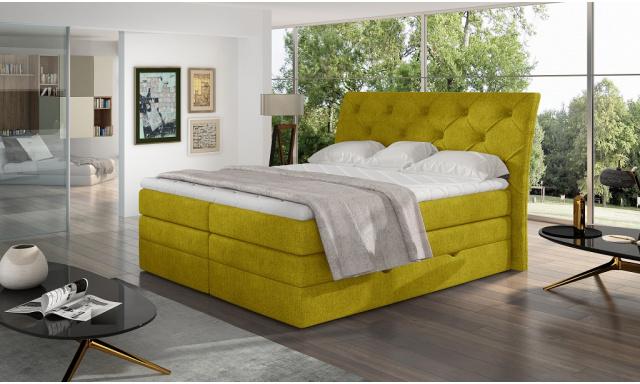 Kvalitní box spring postel Marek 180x200, žlutá