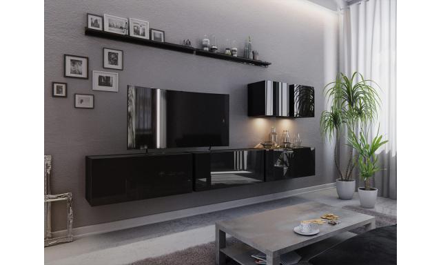 Moderní obývací stěna Bonny 07, černá/černý lesk
